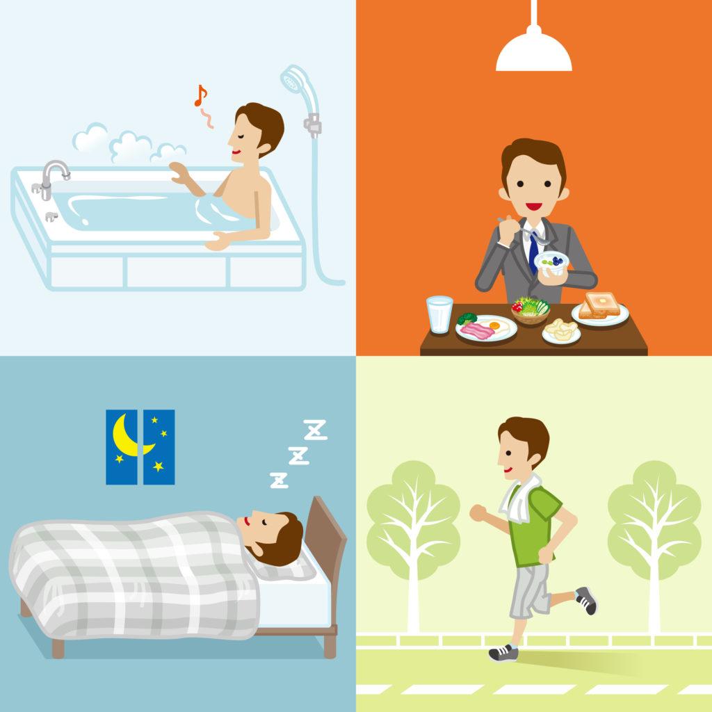 健康維持には食事睡眠運動が重要